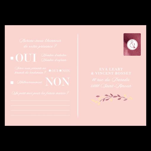 Carton réponse faire part mariage. carte postale assortie avec rose pale et fleurs aquarelle