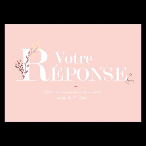 Carton réponse invitation mariage bohème champêtre floral, fond rose pale et aquarelle