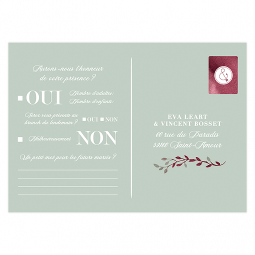 Carton réponse mariage RSVP. Questionnaire carte postale. Exemple texte mariage
