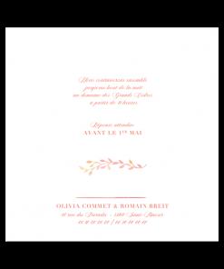Invitation mariage, fleurs à l'aquarelle sur fond blanc. Motifs champêtre rose pale et touches de jaune. Un faire-part mariage élégant et épuré.