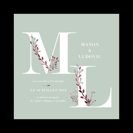 faire-part mariage floral et nature. initiales des prénoms des mariés en grand. Couleurs personnalisées.
