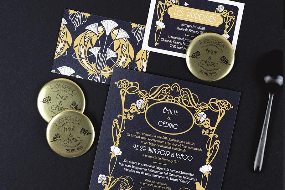 Faire-part mariage invitation art deco gatsby noire et or