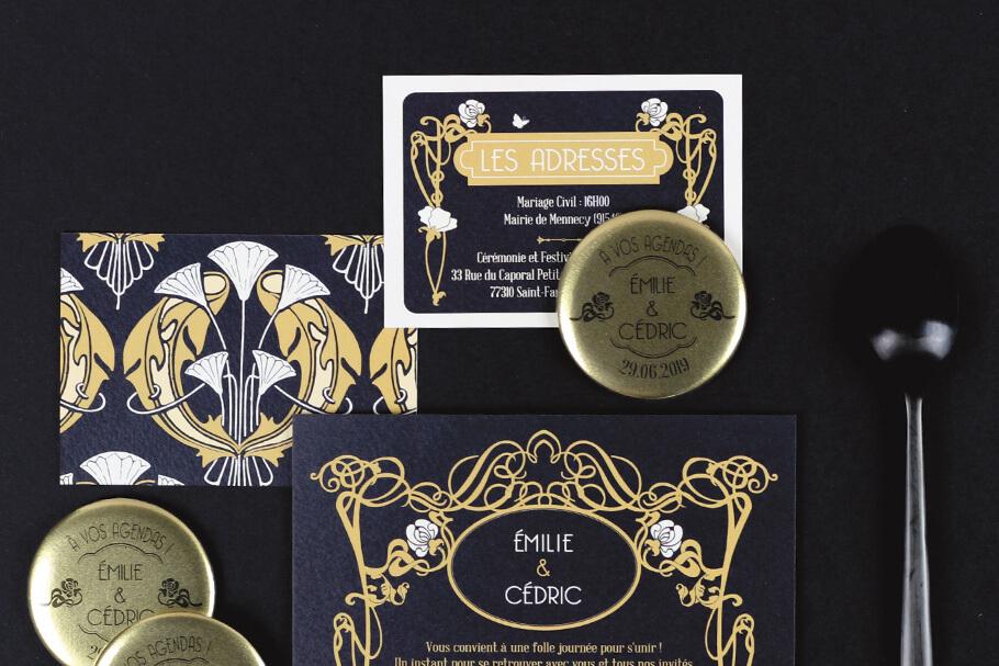 invitation mariage noir or thème vintage art deco.