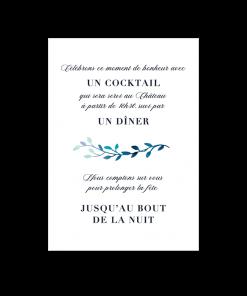 Invitation mariage cocktail, dîner, soirée. mariage nature et floral. inspiration champêtre pour le motif à l'aquarelle.