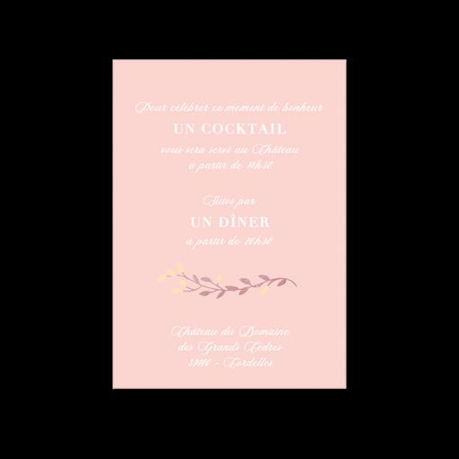 Invitation diner mariage fond rose pale. Motif branche et fleurs à l'aquarelle