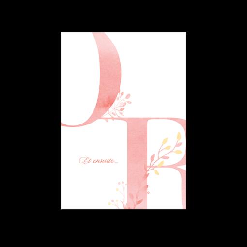 Carton invitation diner brunch mariage Nature et champêtre. Grandes lettres graphiques à l'aquarelle