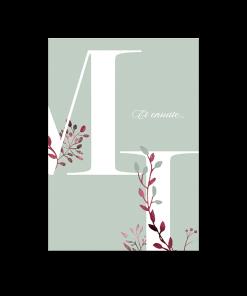 invitation mariage brunch et diner, fond vert d'eau et grosses lettres initiales des mariés