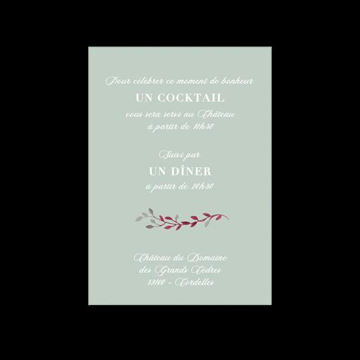 invitation diner mariage fond vert d'eau, motif floral à l'aquarelle.