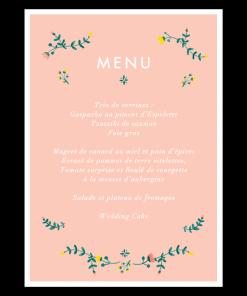 Menu mariage printemps, floral et bohème, fond rose fleurs à l'aquarelle