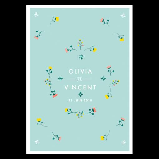 menu mariage imprimé, mariage bohème et floral; Fleurs à l'aquarelle