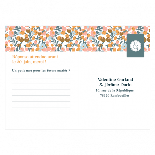 Carton réponse mariage Liberty, carte postale fleurie