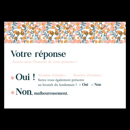 Carton réponse mariage Liberty, votre réponse Oui, non. Motif floral coloré.