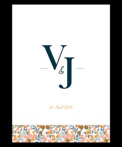 Menu mariage Liberty, avec initiales des mariés, logo des mariés