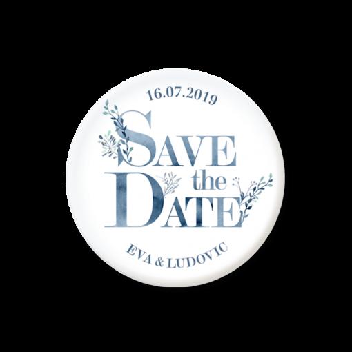 Save the date mariage champêtre. Magnet aquarelle bleue.