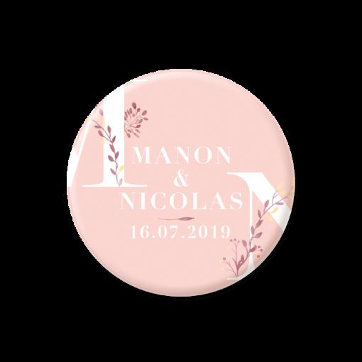save the date mariage magnet bohème, fond rose et branches aquarelle