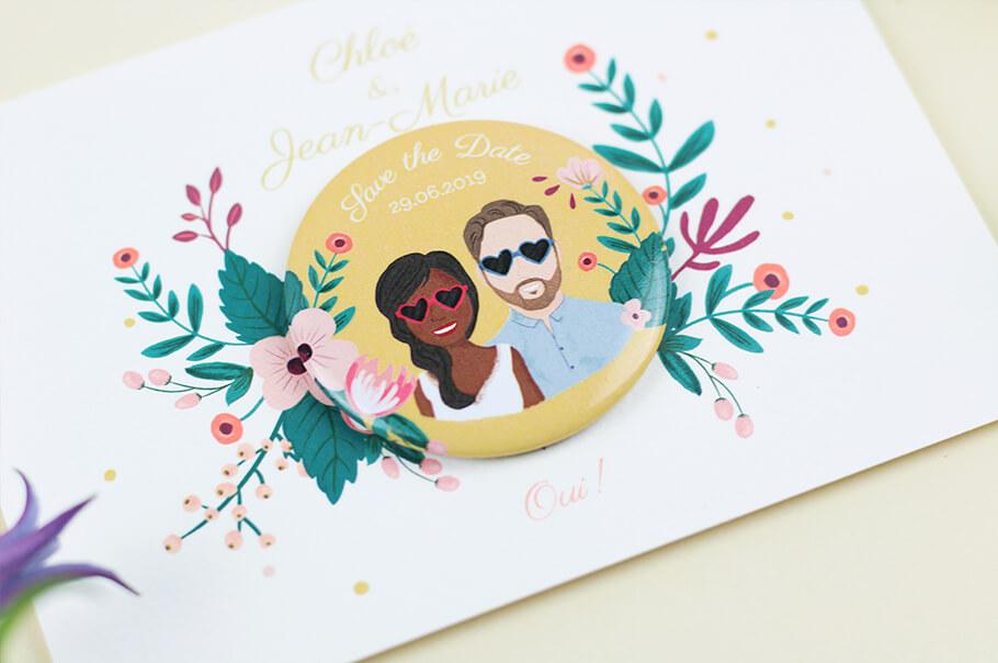 save the date mariage portrait avec magnet assorti
