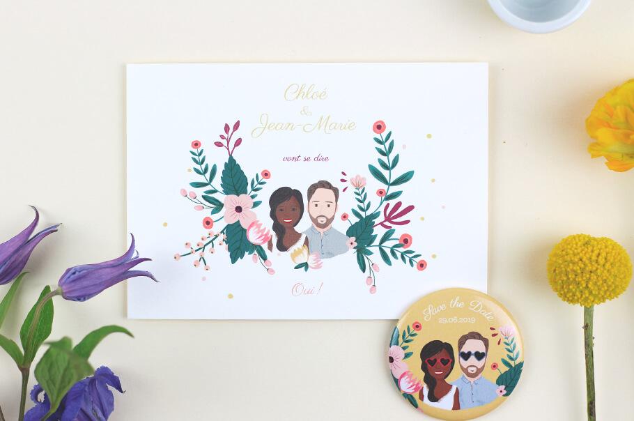 save the date mariage portrait carte et magnet et fleurs