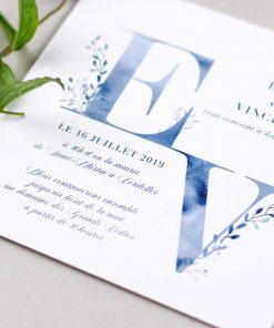 Faire part mariage champetre bleu aquarelle, lettres initiales des mariés