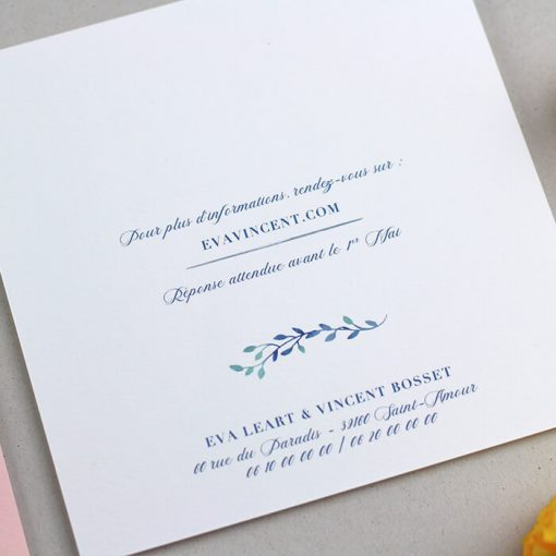 faire part mariage champetre verso, aquarelle bleu et motif fleur