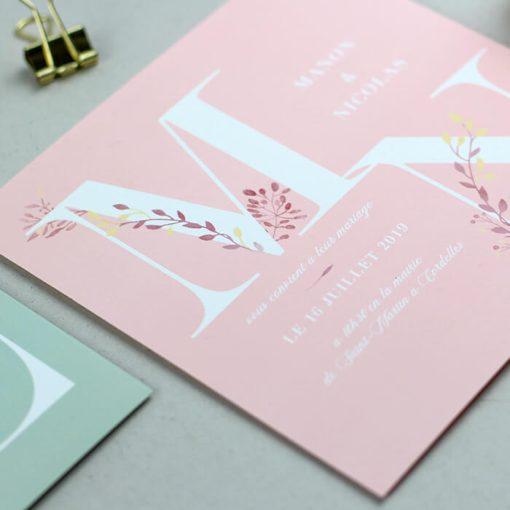 faire part mariage champetre fleuri, rose pale rose poudré