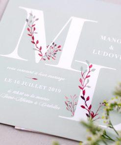 Faire-part mariage champêtre branches aquarelle, vert mint et rose