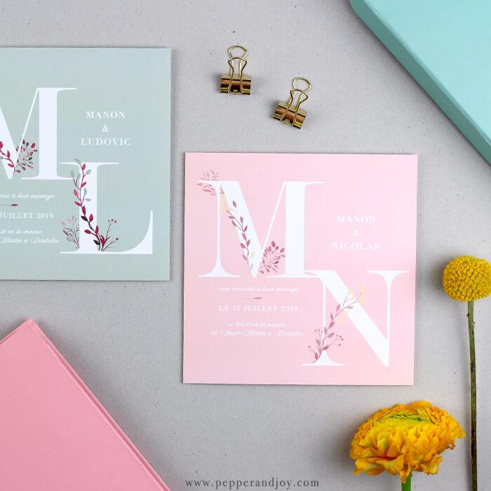 Invitation De Mariage Nature Et Graphique Les Initiales