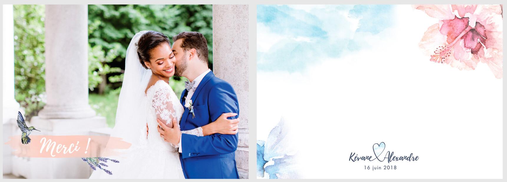 carte remerciements mariage aquarelle, bleu et rose