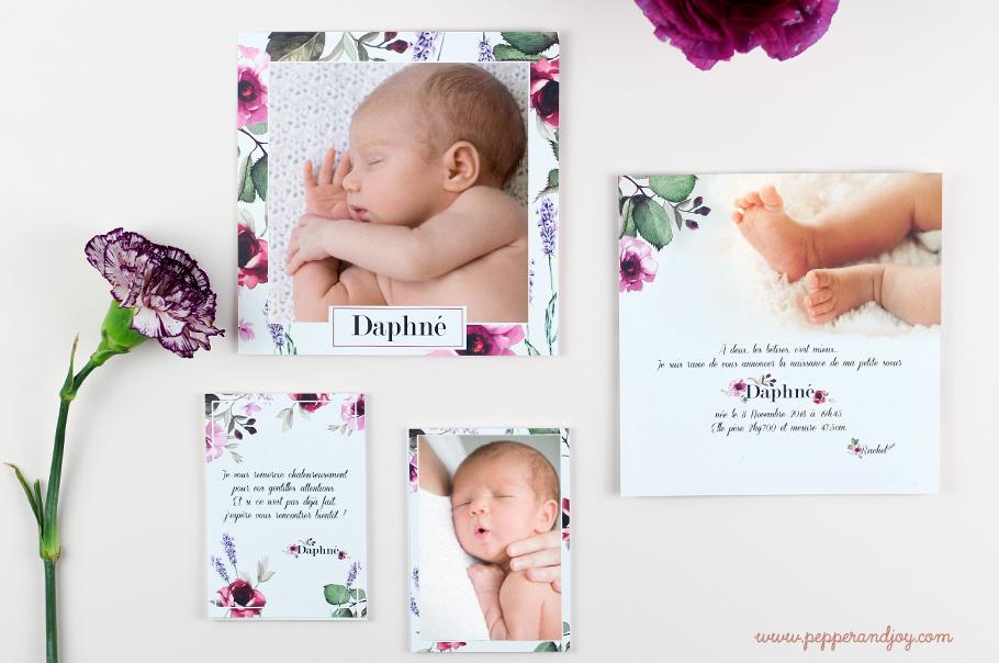 faire part de naissance floral fille. Carte fleurie pour annoncer la naissance de bébé fille.