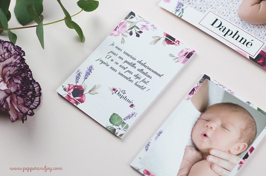 faire part de naissance floral et carte de remerciements assortis