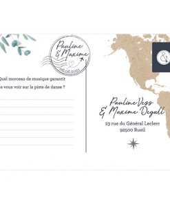 carte postale carton invitation mariage RSVP Voyage international carte du monde