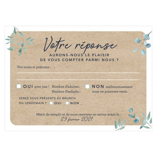 carton réponse mariage voyage international carte postale.