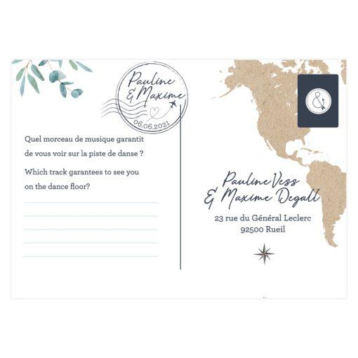 carton réponse mariage voyage international, carton bilingue