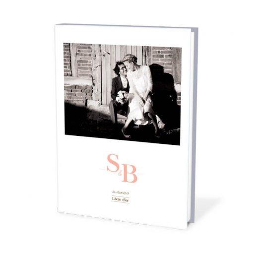 livre d'or mariage liberty personnalisé avec photo et logo des mariés