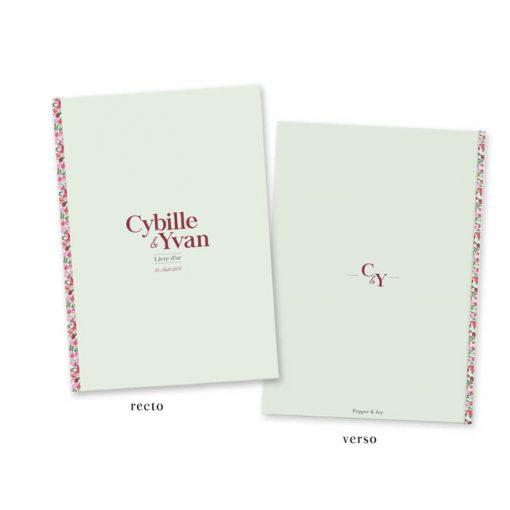 livre d'or mariage liberty vert et violet. motif personnalisé avec les couleurs de votre choix