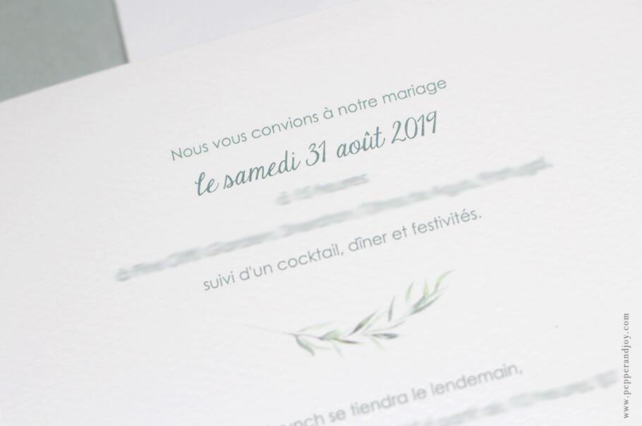 faire-part mariage sur mesure branche aquarelle et texte bilingue.
