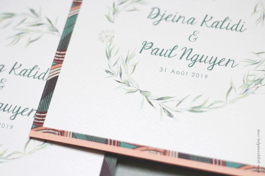 Faire-part mariage sur mesure papier épais motif wax.