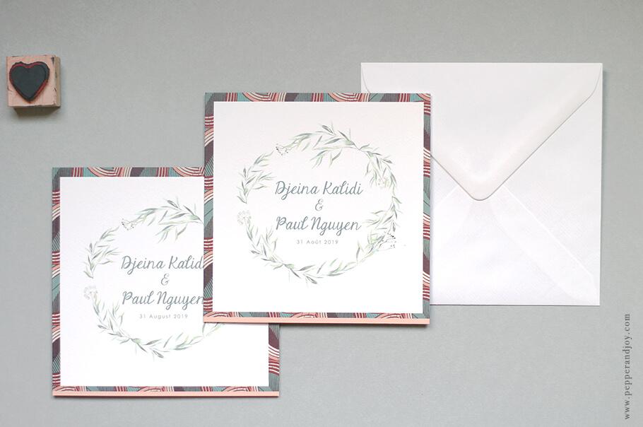 Faire-part mariage bilingue sur mesure, tissu wax