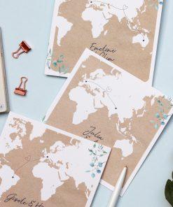 faire part mariage carte du monde thème voyage bilingue