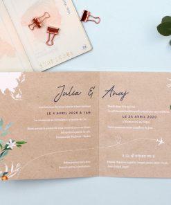 faire-part mariage bilingue invitation voyage avec carte du monde personnalisée