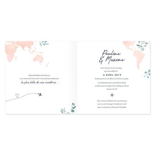 faire-part mariage voyage international carré; Aquarelle rose, avion et carte du monde. Faire-part mariage romantique