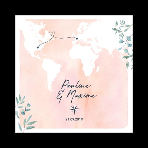 faire-part mariage carré voyage international. Fond rose aquarelle et carte du monde en blanc. Branches eucalyptus