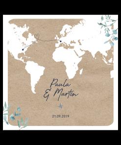 faire-part mariage voyage international avec carte du monde sur fond papier kraft