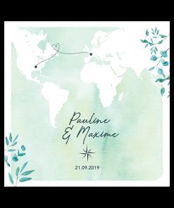 faire-part mariage voyage international, mapmonde, carte du monde sur fond aquarelle vert et branches d'eucalyptus