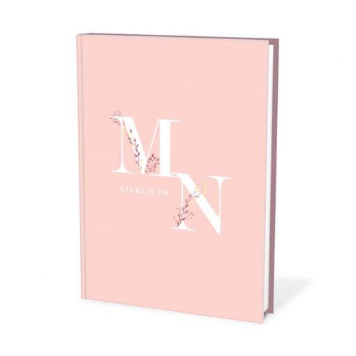 livre d'or mariage bohème rose et aquarelle