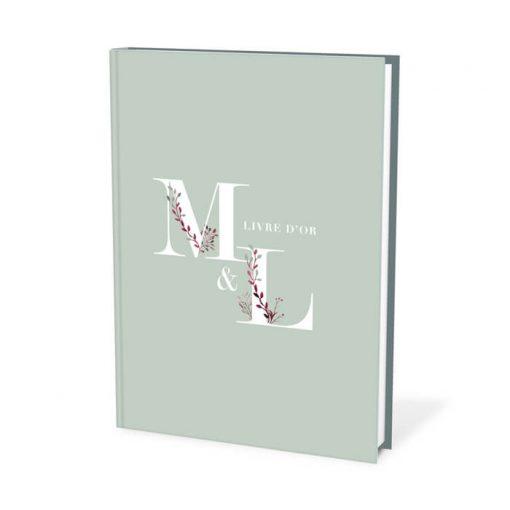 Livre d'or mariage bohème personnalisé avec initiales des mariés