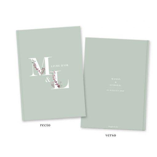livre d'or mariage bohème, fond vert mint et feuillage bordeaux