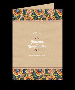 livret de messe imprimé mariage africain, motif wax afrique ethnique chic.