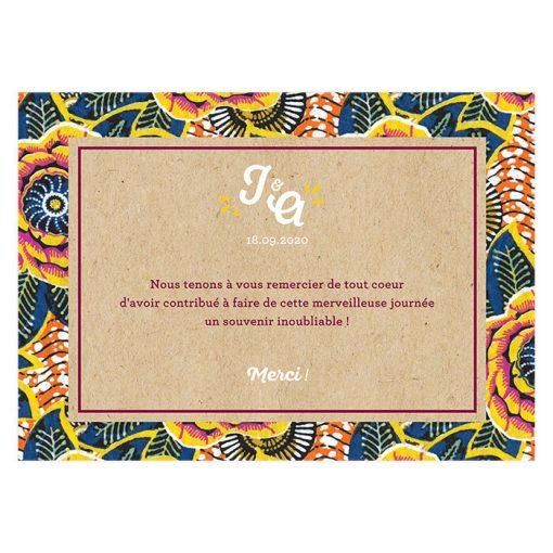 carte de remerciements mariage personnalisée, mariage ethnique africain avec tissu wax et fond kraft