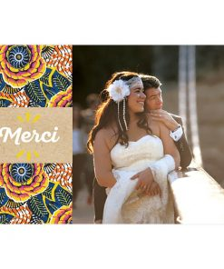 carte remerciements mariage africain, tissu wax photo de couple