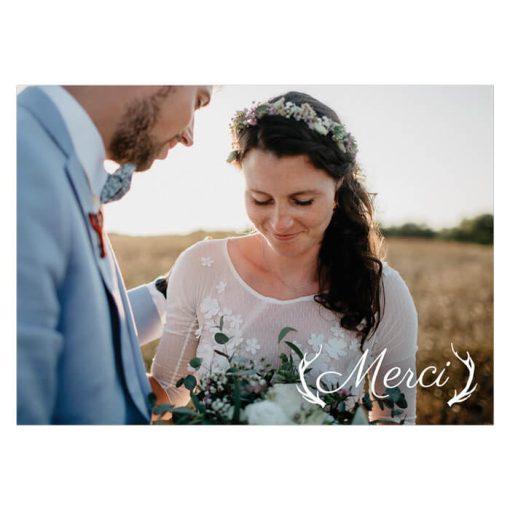 Carte de remerciement mariage Dans les bois. Mariage nature et romantique